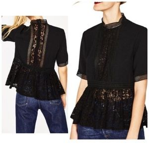 Zara Woman Black High Neck crochet Peplum Top Lace